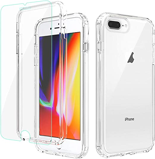 APLO iPhone 8 Plus Case, iPhone 7 Plus/6 Plus Case with Screen Protector, Clear 360 Full Body Coverage Hard PC & Soft Silicone TPU 3in1 [Certified ...