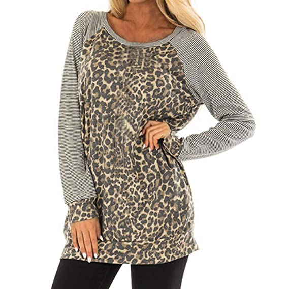 1441f7a66 SamMoSon Women's Regular Fit T-Shirt,Fashion Women's Leopard Print Long  Sleeve Round O