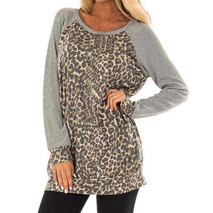 ❤ Camisa de Leopardo de Manga Larga, Blusa sin Mangas con Cuello Redondo y Manga Larga con Estampado de Leopardo para Mujer. Absolute: Amazon.es: Ropa y ...