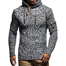 Leif Nelson LN5400 Men's Knitted Pullover with Cozy Hood