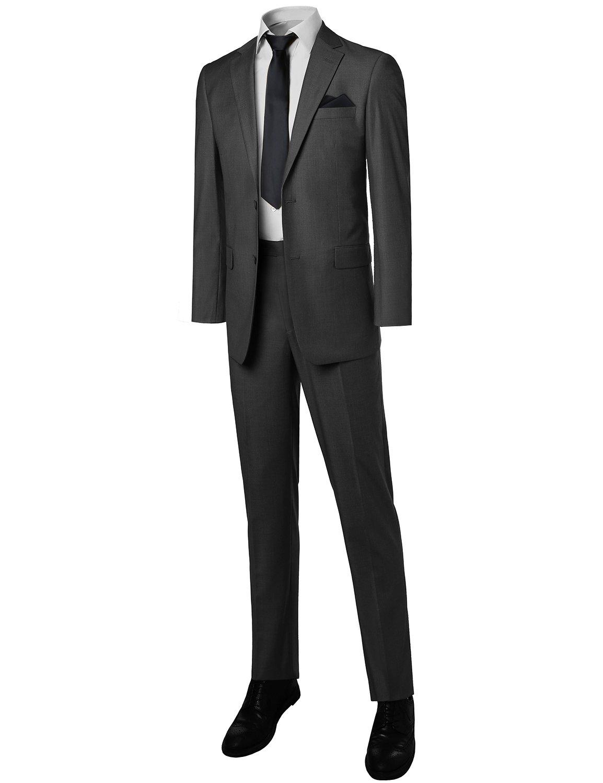 Contemporary Classic Regular Fit 2pcs Suit Blazer &Dress pants Charcoal Size 42S