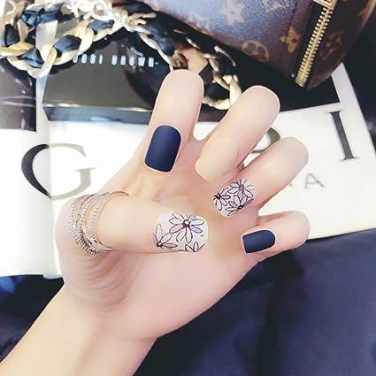 24 piezas de uñas postizas mate parche de arte de uñas con pegamento especial para uñas