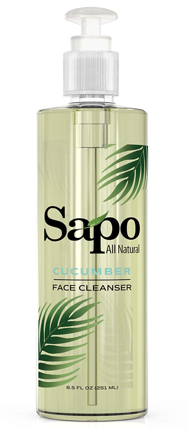 Sapo All Natural Cucumber Face Cleanser. Moisturizing and antiaging face cleanser. Gentle exfoliating and hydrating face wash. Improves complexion. For all skin types 8.5 fl oz