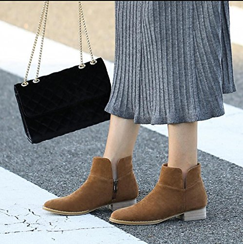 Bare Brown Low Heel Shoes New Side KHSKX Flat Boots And Leisure And Autumn Round Winter Heel Women Boots Zipper Head Boots fxUqzS8Rwq