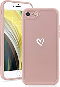 Micoden Compatible for iPhone 7 Plus iPhone 8 Plus Case for Women Cute Glossy Soft Slim Simple Heart Pattern Protective Case Light-Wight Shockproof Silicone Cover for iPhone 7 Plus iPhone 8 Plus Pink