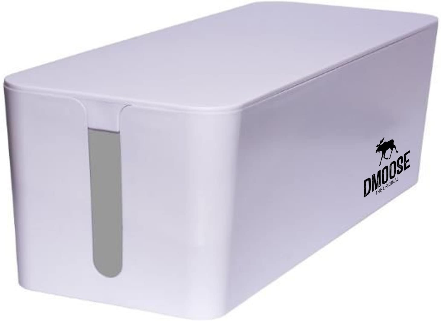 DMoose Cable Management Box Organizer for Cords, Power Strips or Surge Protectors, Hide Loose Wires Behind TVs, Home Office Computers, Office Desks, Entertainment Centers (White)