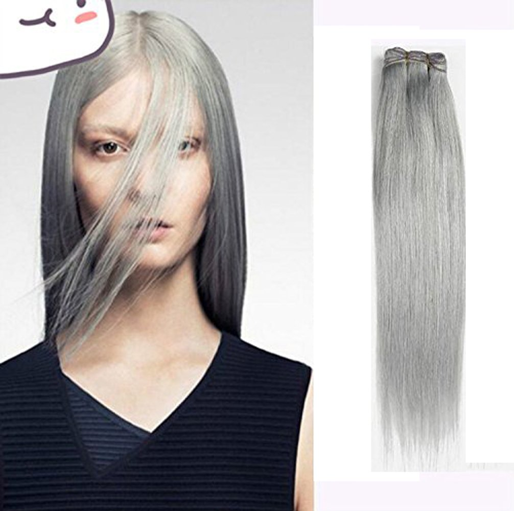 Amazon Atozwig 8a Brazilian Straight Virgin Hair Platinum Grey
