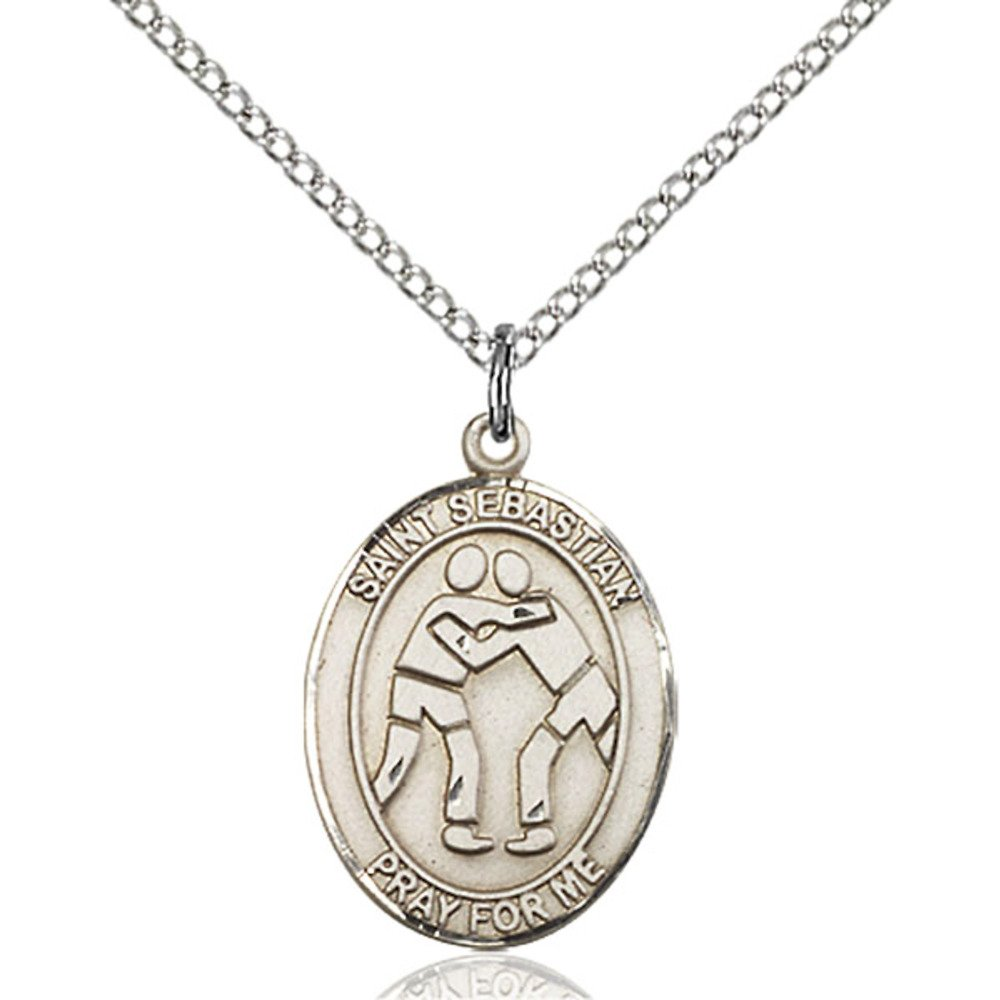 Custom Engraved Sterling Silver St. Sebastian/Wrestling Pendant 3/4 x 1/2 inches with Sterling Silver Lite Curb Chain