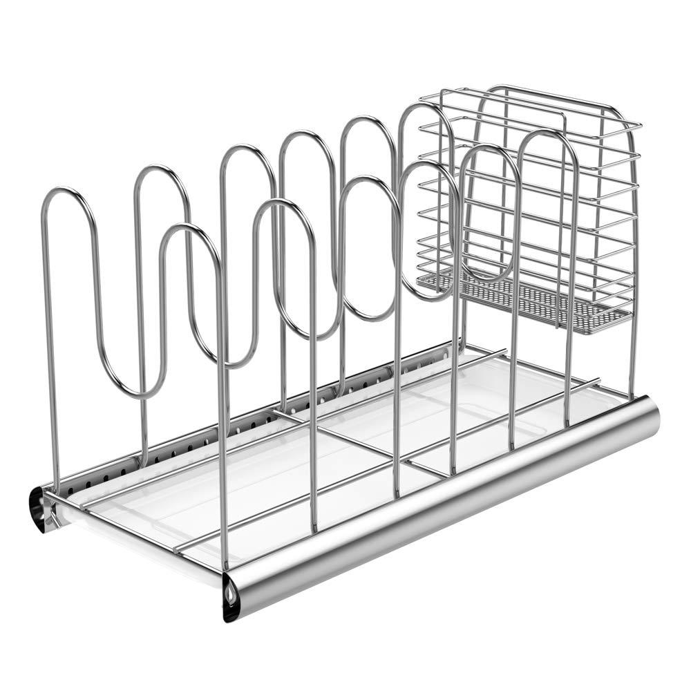 Allegut Adjustable Pot Lid Holder Organizer Rack with Storage Basket 16.7 x 8.3 x 9.8 inches - SUS 304 Stainless Steel