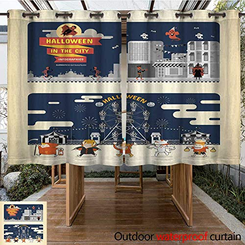 RenteriaDecor Outdoor Curtains for Patio Sheer Halloween in The City infographics W55 x L72 -