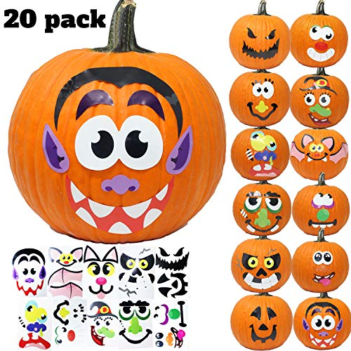 JOYIN 20 Assorted Pieces Pumpkin Decorating Craft Kit Stickers in 12 Designs Halloween Party Supplies Trick or Treat Party Favors (10 INCHES by 6.75 INCHES) -