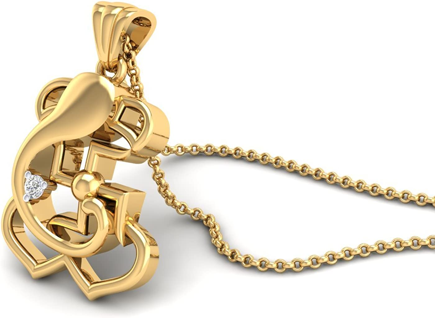 SwaraEcom 14K Yellow Gold Plated Round AAA Cubic Zirconia Ganesh//Ganesha//Ganpati Pendant Summer Sale