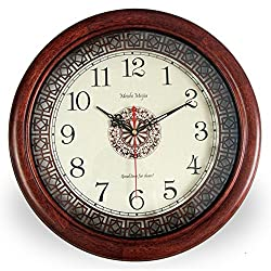 Mahogany round wall clock,Simple [retro] [chinese style] Living room silent quartz clock-red 16inch