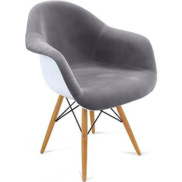 chaise daw charles eames style - tissu gris clair: amazon.fr ... - Chaise Daw Charles Eames