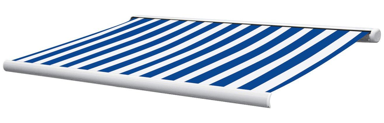 Vollkasetten Markise Kasette Sunshade 5x3 m in blau/weiss aus Aluminium Inkl. Motor, FB und Nothandkurbel