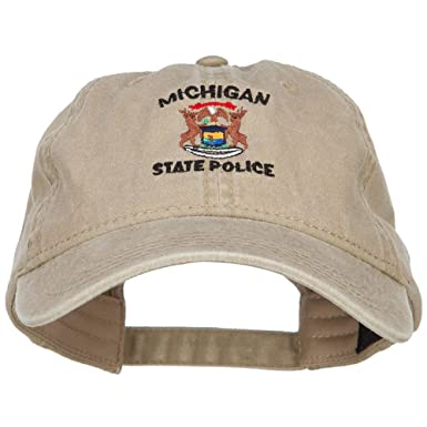 bcbf3ed2ac412 Michigan State Police Embroidered Washed Cap - Khaki OSFM at Amazon ...