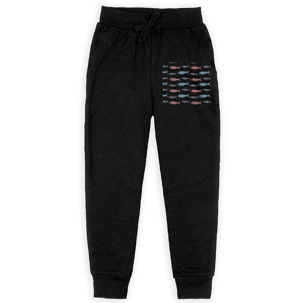 Kim Mittelstaedt Carp Flag Boys Big Active Basic Casual Pants Sweatpants for Boys Black