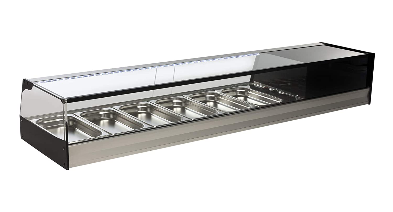 Vitrina profesional fría de acero inoxidable 4 bandejas con LED 1220 x 410 x 250 mm): Amazon.es: Industria, empresas y ciencia