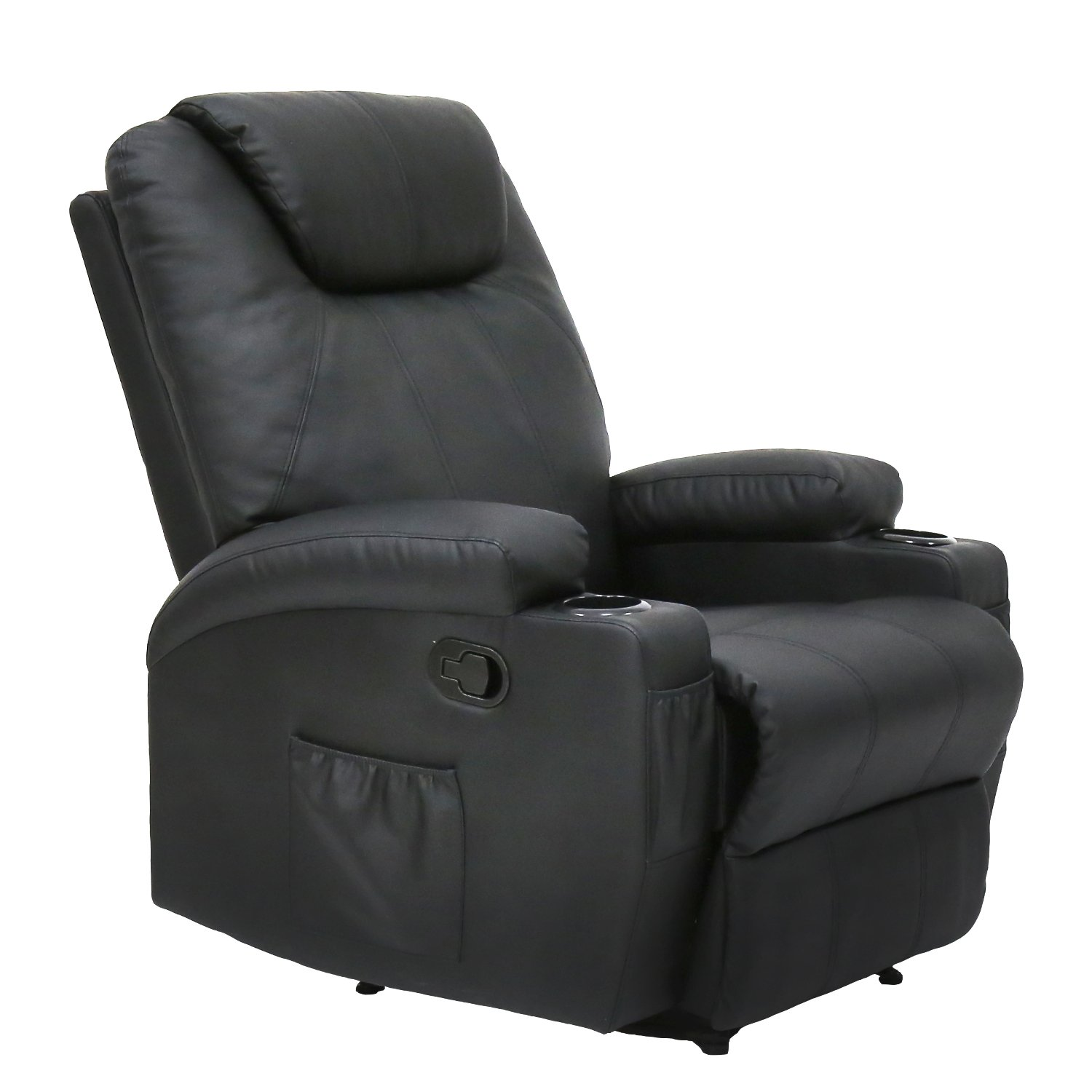Kinbor Massage Recliner Leather Sofa Chair Ergonomic Lounge Swivel Heated with Control and Cup Holder (black)