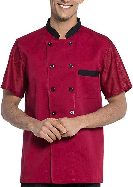 WMOFC Unisexo Chaqueta Chef,Camisa De Cocinero, Transpirable Cocina Uniforme Tops,Chefs Jacket Coat Hotel Camareros Hostelería Ropa Trabajo: Amazon.es: Deportes y aire libre
