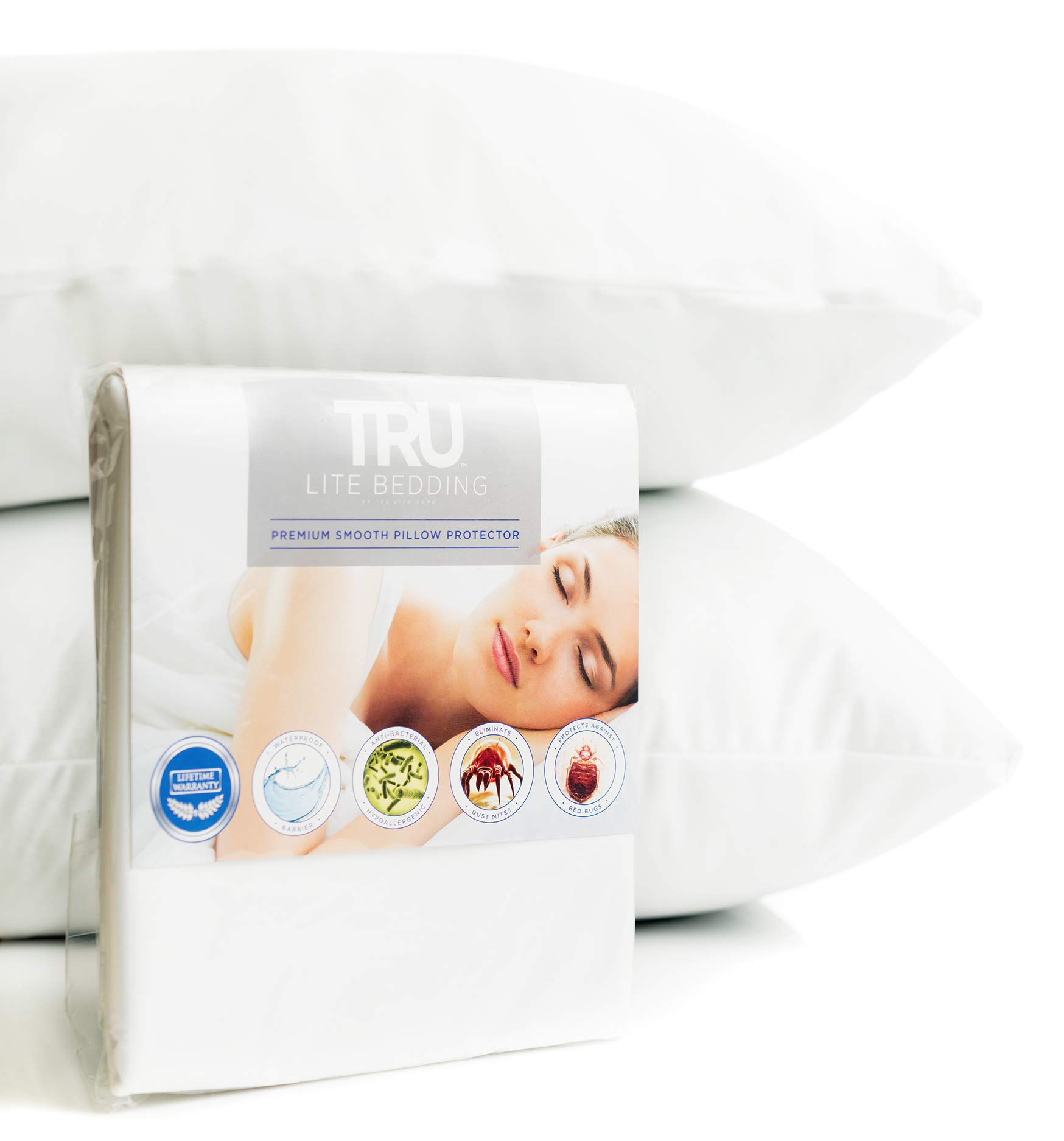 Anti Allergy Dust Mite Pillow Cases   Allergen and Bedbug Protector   Premium Breathable Smooth Surface Cover   100% Waterproof   Zippered Encasement for Bed Bugs   Set of 2   Standard Size by TRU Lite Bedding