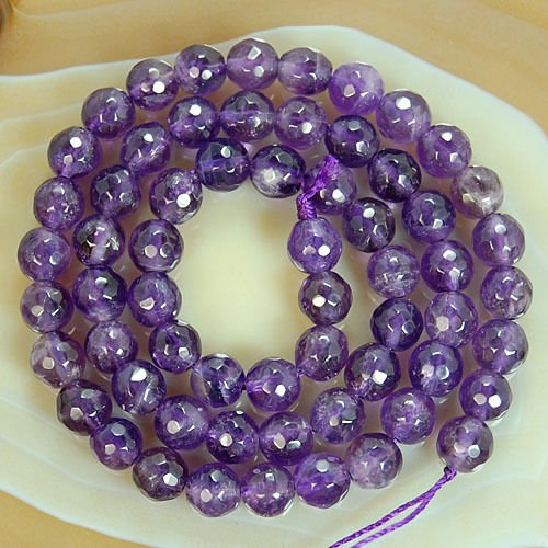 (Round Faceted Amethyst Gemstone Beads (6mm))