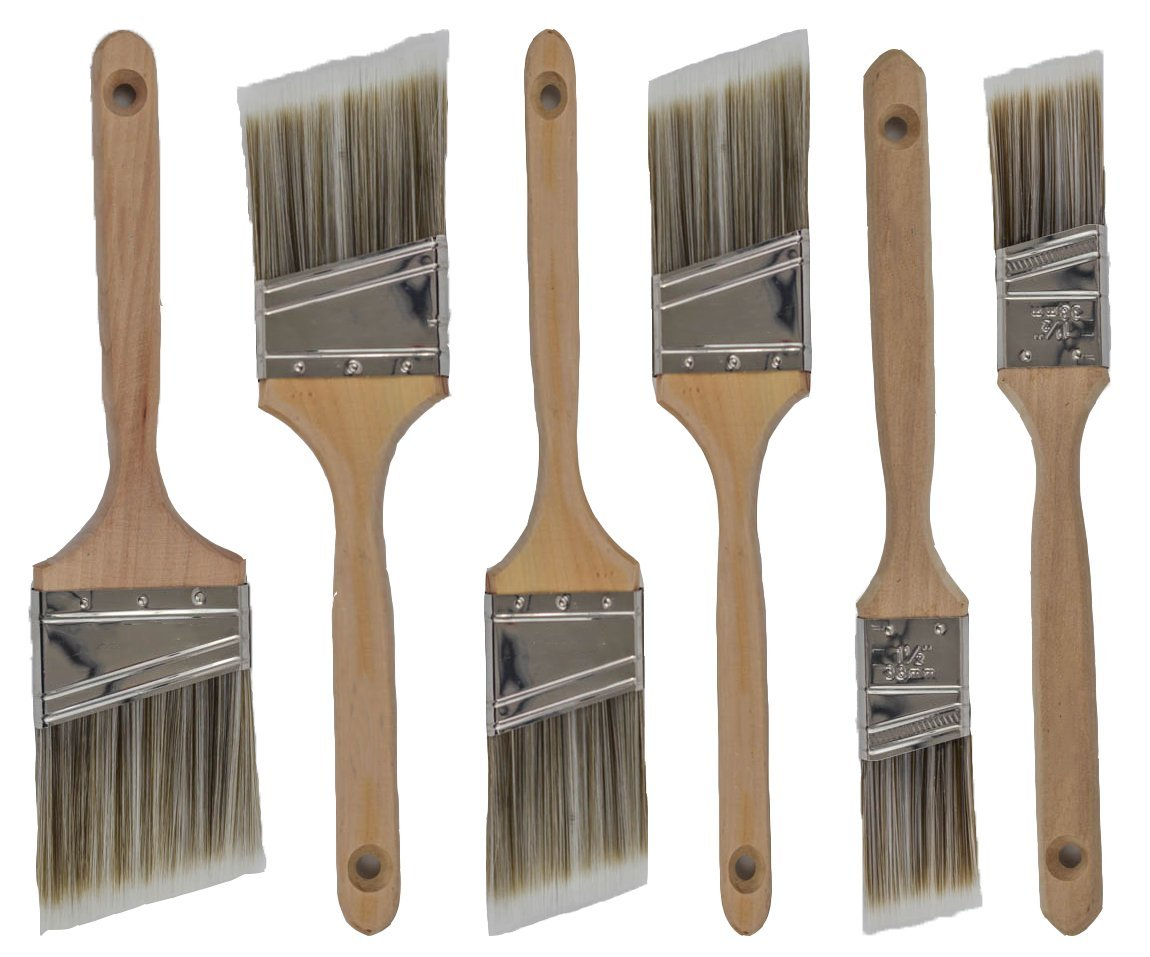 Pro-Grade Premium Wall/Trim House Paint Brush Set Great for Professional Painter And Home Owners Painting Brushes For Cabinet Decks Fences Interior Exterior & Commercial Paintbrush. (6Pk)