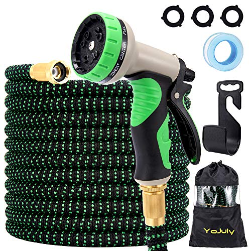 YOJULY 100ft Expandable Garden Hose – Super Durable 3750D Garden Water Hose/Strongest Triple Latex Core with 3/4″ Solid Brass Fittings ,Durable Outdoor Gardening Flexible Hose for Watering(Green)