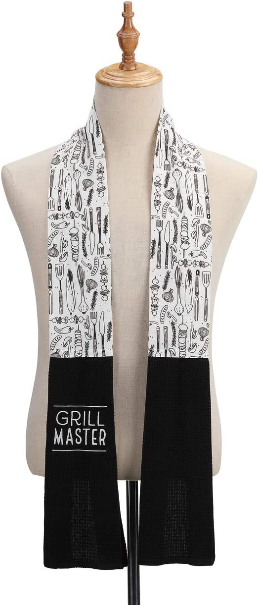 Grill Master Black and White 69 inch Cotton Polyester Fabric Boa Dish Towel
