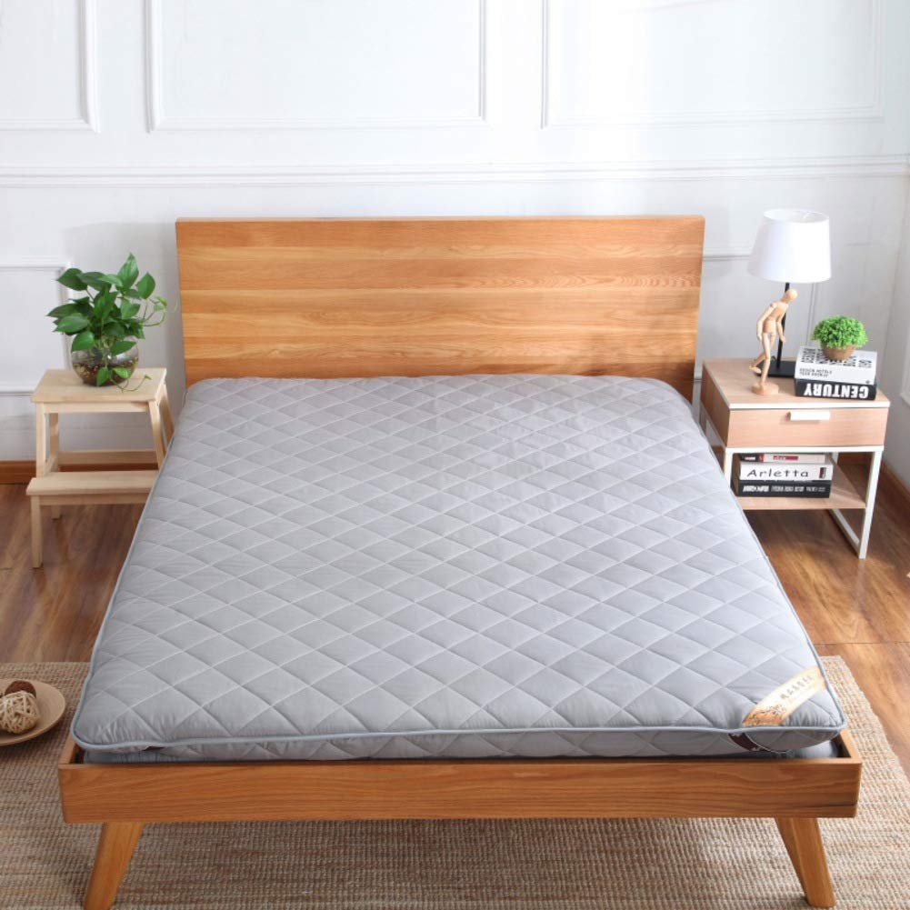 Lovehouse Thick Premium Mattress pad, Japanese Futon Tatami mat Sleeping,Quilted Fitted Mattress for Student Dormitory,Home-Gray 180x200cm(71x79inch)