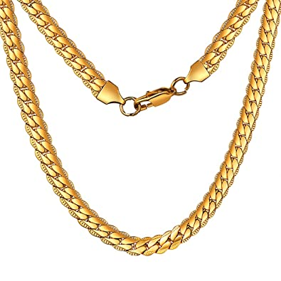 0a2df6f2c4fb66 ChainsHouse Men Women 18K Gold Plated Chain Stainless Steel Fashion Jewelry  Boys 6MM Wide Snake Chain