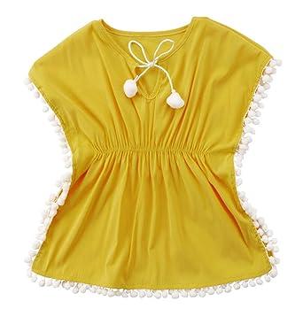 640f4c8662 Enfant Bébé Filles Nager Cover-up Plage Robe Paréos Été Gland en Vrac  Bikini Maillots De Bain Tenue De Plage: Amazon.fr: Vêtements et accessoires