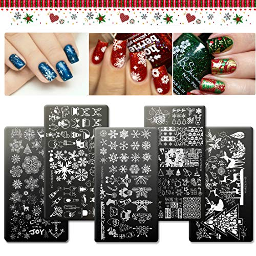 ing Plate - 5 Pieces Nail Stamping Kits by iMethod, Holiday Nail Art Stamp Plates, 180 Designs including Christmas Tree Santa Claus Snowflakes, Perfect for Winter and Xmas ()