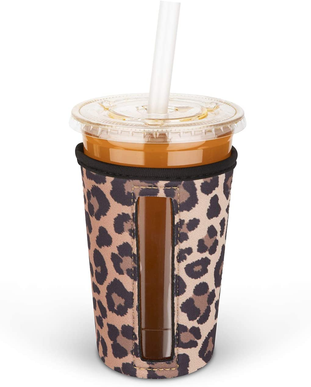 MEETI Reusable Iced Coffee Cup Insulator Sleeve for Cold Beverages, Neoprene Cup Holder Compatible with Starbucks, McDonald's Coffee, Dunkin Donuts, Tim Hortons and More, Medium, Multicolor1