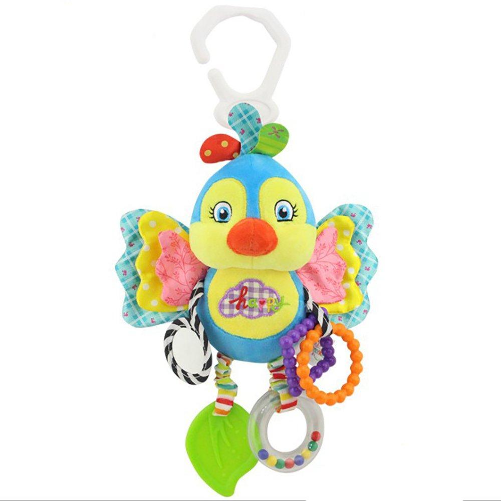 Juguete infantil Campana de mano animal campana de cama Campana sonajero juguete bebé música juguete cama carro cama actividad espiral colgante de juguete (blue bird) Hilai