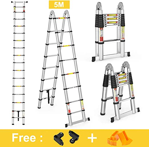 Certifi/é EN131 COOCHEER /Échelle T/élescopique Pliante 5M 2,5M + 2,5M Charge max 150 kg 2 en 1 Escabeau Pliant Ladder