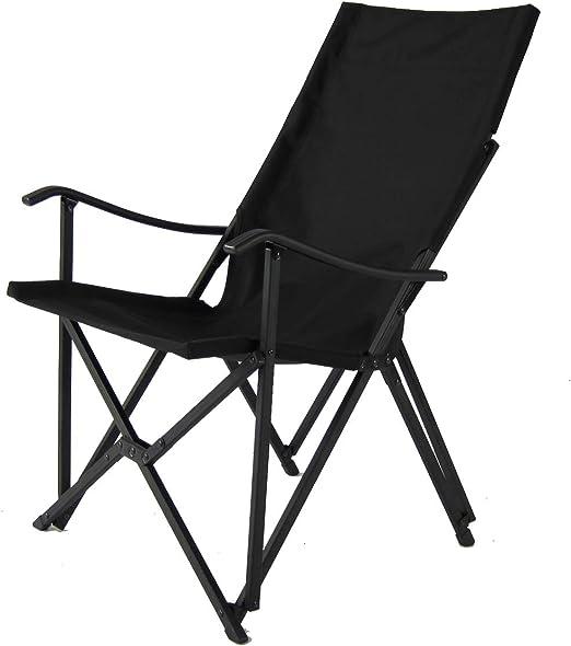 Sillón plegable de aluminio (negro) - Sillas de camping | Silla de jardín | Tailgating | Sillas de exterior | Equipo de camping | Evento | RV | Caravana | Jardín | Césped | Silla delgada | Buen diseño: Amazon.es: Hogar
