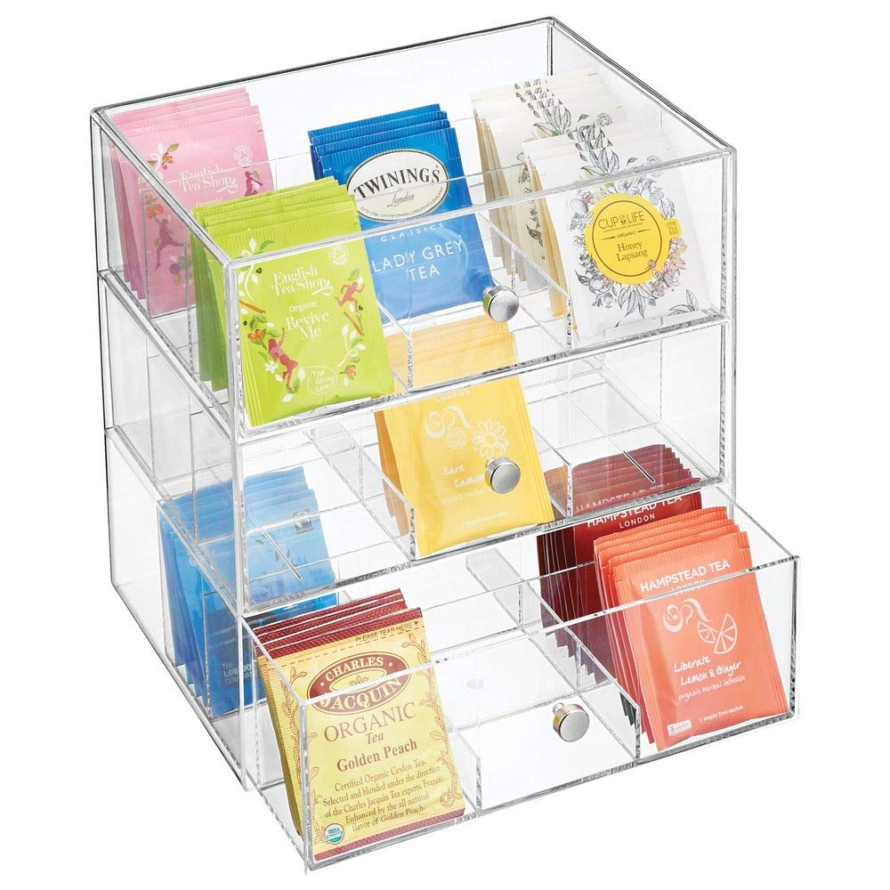 mDesign Plastic Kitchen Pantry, Cabinet, Countertop Organizer Storage Station with 3 Drawers for Coffee, Tea, Sugar Packets, Sweeteners, Creamers, Drink Pods, Packets - 27 Sections - Clear by mDesign