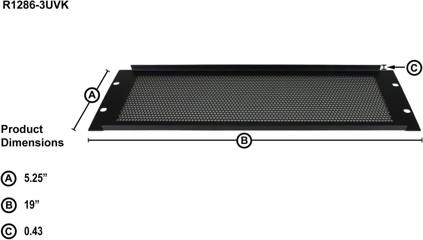"1U Penn Elcom Rack Panel Steel Perforated Vent Formed R1286//1UVK 19/"" vented"