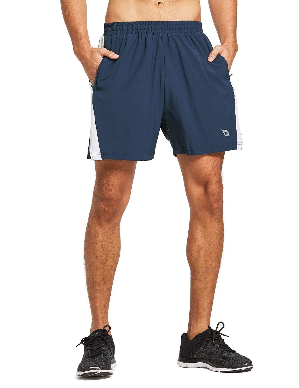 BALEAF Men's 5 Inches Running Athletic Shorts Zipper Pocket Navy Size XXL by BALEAF