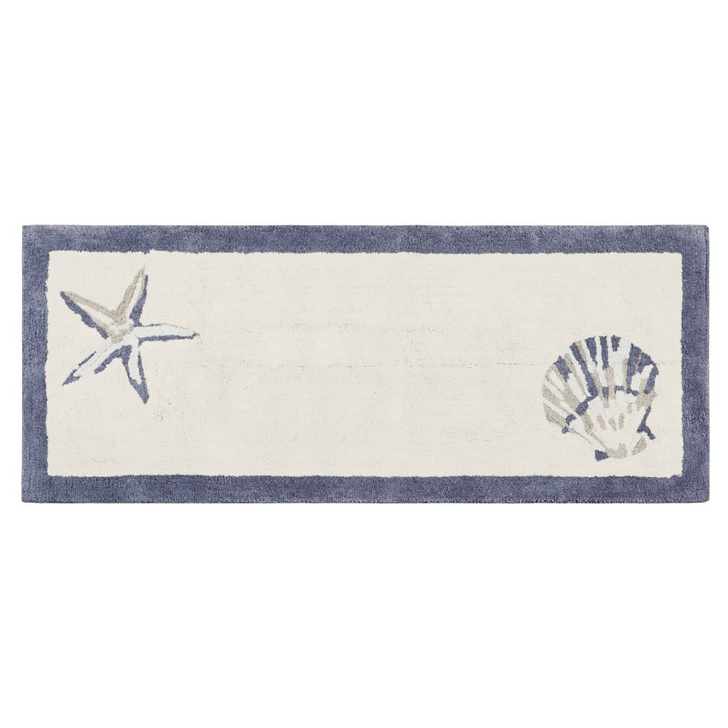 Blue 24X60 Inches Madison Park Bayside 100/% Cotton Tufted Non-Slip Absorbent Ultra Soft Seashells Beach Style Bath Mat Bathroom Rugs