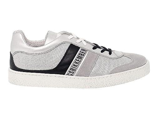 Bikkembergs Hombre BKE108702 Plata Cuero Zapatos: Amazon.es: Zapatos y complementos