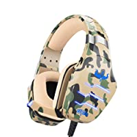 OVLENG Camouflage Gaming Headset with Microphone,PS4 Headset with Noise Canceling Mic & LED Light,Stereo Surround Gaming Headphones for PS4/PC/Nintendo Switch/Xbox One