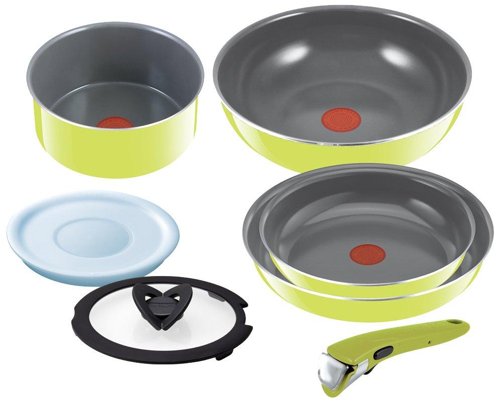 T-fal Pan Take the Frying Pan Set Ingenio Neo Handle Ceramic Control Green Set 7 L60091 by T-fal: Amazon.es: Hogar