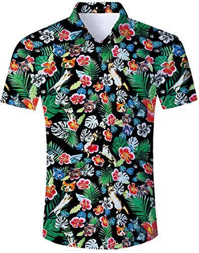 (Mens Tropical Kitty Hawaiian Shirt Cool Button Down Dress Shirts Hibiscus 3D Graphic Red Floral and Green Leaf Island Aloha Tees Summer Tropical Short Sleeve Sun Surf Luau Clothes)