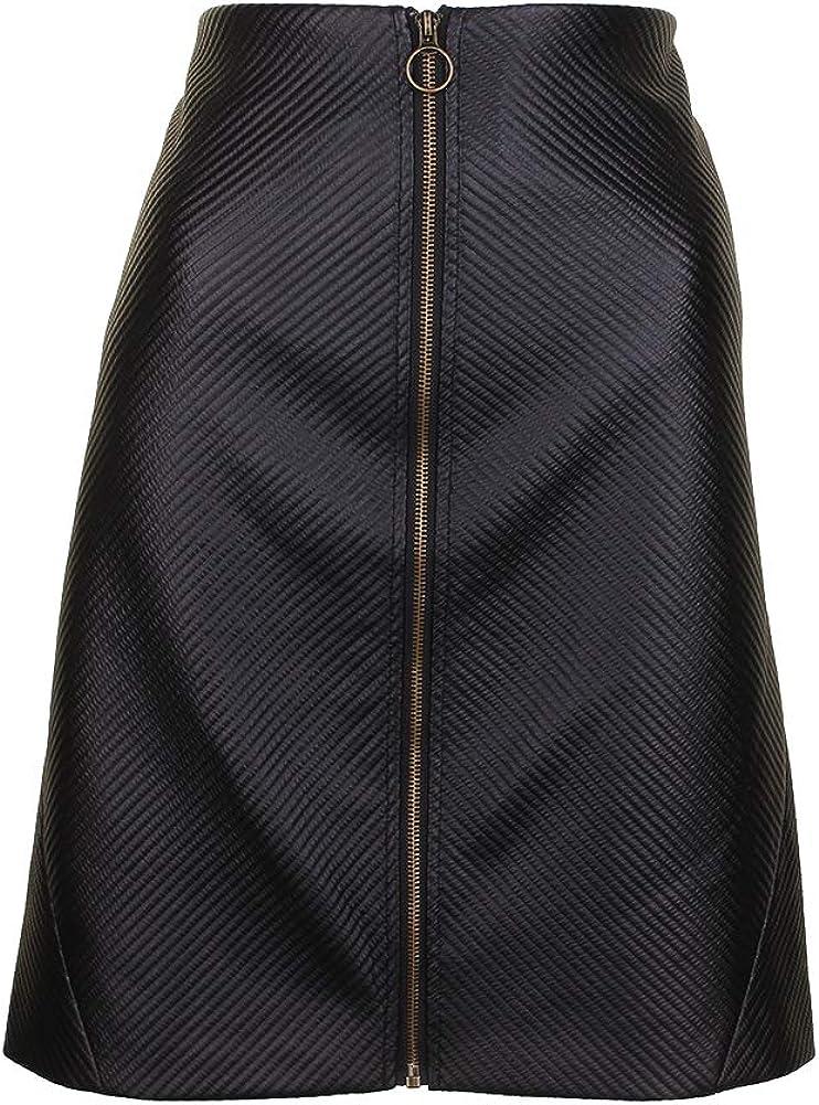 RACHEL Rachel Roy Womens A-Line Zip Front Mini Skirt Black 8