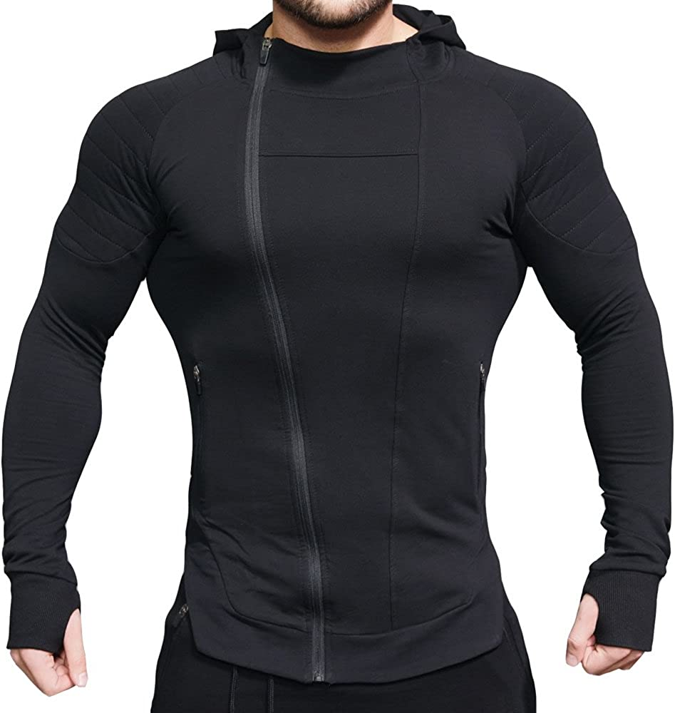 EVERWORTH Men's Fitness Workout Long Sleeve Hoodie Active Muscle Bodybuilding Zip Jackets with Zipperd Pockets
