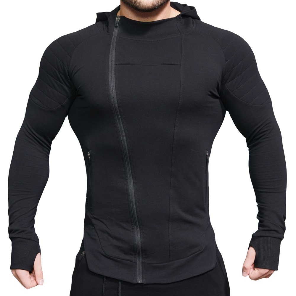 EVERWORTH Men's Fitness Workout Long Sleeve Hoodie Active Muscle Bodybuilding Zip Jackets With Zipperd Pockets Black L Tag XXL by EVERWORTH