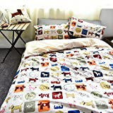 Bedding for Children 100% Cotton 4-Piece Bedding Set Cartoon Style Bedding Set Dogs Print Duvet Cover & Bed Sheet & Pillowcases without Comforter (Queen,#3)