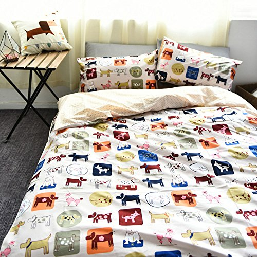 Bedding for Children 100% Cotton 4-Piece Bedding Set Cartoon Style Bedding Set Dogs Print Duvet Cover & Bed Sheet & Pillowcases without Comforter (Queen,#3) by Popular Art Print